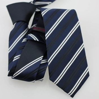 Black Knot Navy Black White Stripe Skinny Tie