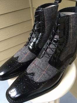 Black Wingtip Leather and Tweed Boots