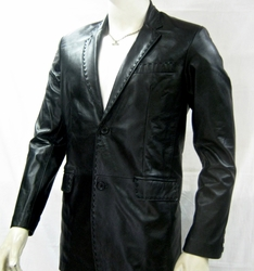 Black Pic Stitch Leather Blazer