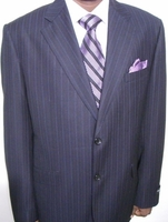 Black Purple and Lavender Pinstripe Suit Size 46R