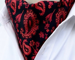 Black Red Paisley Ascot