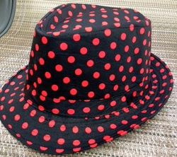 Black Red Polka Dot Fedora