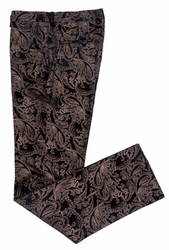 Black Velvet Paisley Print Pants slim fit