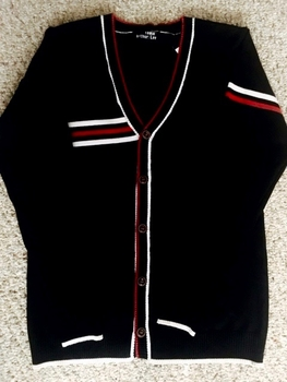 Black White Red Stripe Cardigan Sweater size:M/L