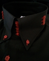 MorCouture 5 Button Black Red 3 Button Side High Collar Shirt size 4XL