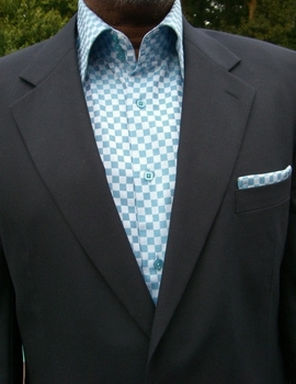 Blue Check Woven High Collar Shirt with matching Pocket Square