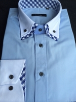 Blue Gingham Accent Double Collar Shirt