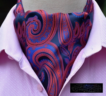 Blue Red Paisley Silk Ascot