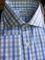 Blue White Grey Check Dress Shirt  17.5/36