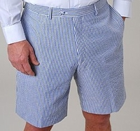 Blue White Seersucker Shorts