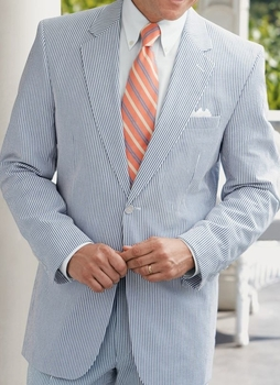 Blue White Seersucker Suit 46L