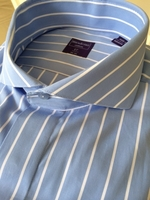 Blue White Stripe Cutaway Collar Dress Shirt