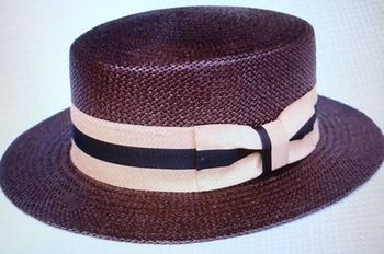 Boater Hat -Brown Small (6.75 - 6.78)