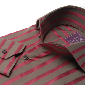 Brown and Wine Satin Stripe 2button High Spread Collar Shirt S