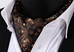 Brown Chocolate Paisley silk Ascot and Hanky