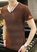 Brown Mesh V Neck size L