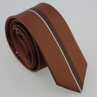 Brown Silver Stripe Skinny Tie