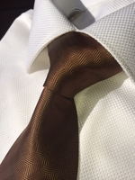 Brown Woven Herringbone Stripe Necktie w/Matching Hanky
