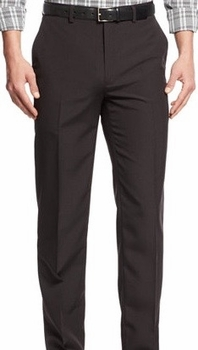Brown Modern Fit Flat Front Pants