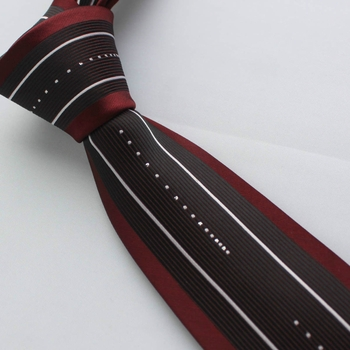 Burgundy Black White Silver Stripe Skinny Tie