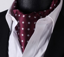 Burgundy White Dot Silk Ascot and Hanky