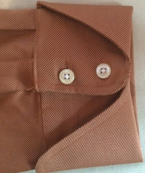 Burnt Orange High Collar Button Down Shirt (Cuff view)