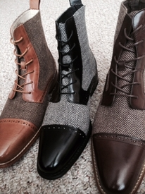 Cap Toe and Leather Tweed Boots