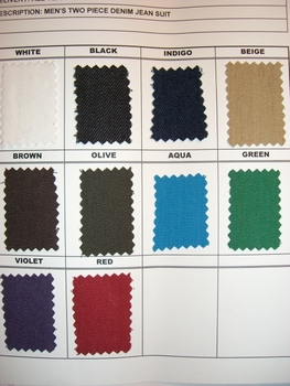 CREME DE SILK  DENIM SUIT COLOR CHART