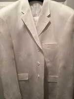 Creme De Silk White 3 button Linen Suit size 2XL(48 suit size)