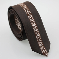 Dark Brown Silver Spiral Skinny Tie
