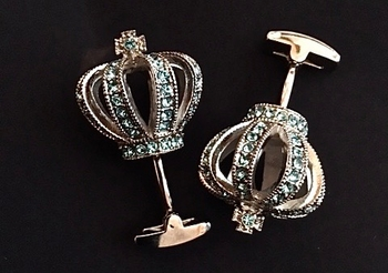 Deluxe Crown Cufflinks Light Blue