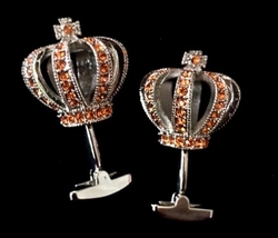 Deluxe Crown Cufflinks Orange
