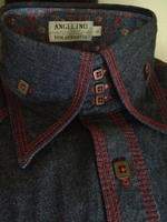 Angelino Red Stitch Denim High Collar shirt L(fits like M)