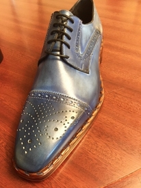 Emilio Franco Blue Fade Oxford Lace Up Shoes