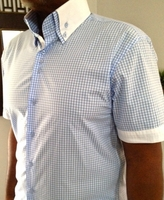 MorCouture Blue White Gingham High Double Collar Short Sleeve Shirt SlimFit