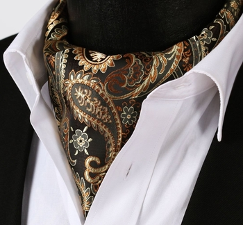 Gold Dark Brown Paisley Silk Ascot w/Hanky