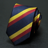 Gold Red Navy Striped Narrow Necktie