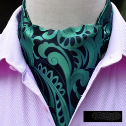 Green Black Silk Ascot