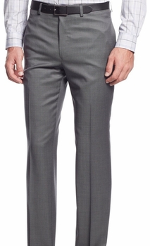 Grey Modern Fit Flat Front Pants