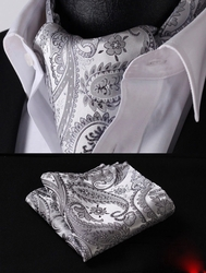 Grey White Paisley Silk Ascot with Hanky