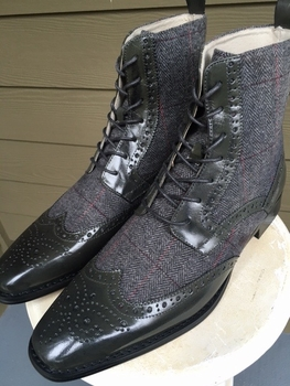 Grey Wingtip Leather Tweed Boots