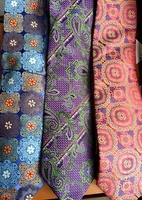 Group F Silk Neckties w/Matching Hanky