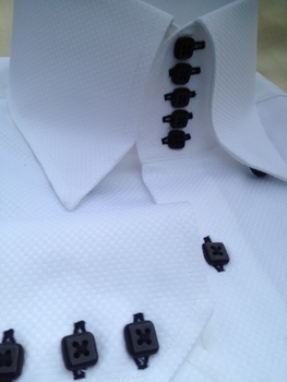 MorCouture White Black Woven 5 Button 'Centipede'  high collar Shirt 2XL (18 - 18.5)