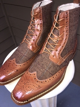 Honey Wingtip Leather Tweed Boots
