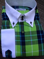 Limited Edition Green Plaid High Collar Shirt w/Hanky size 16 (M)