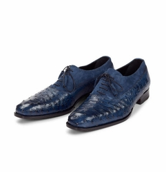 Mauri Dante Blue Suede and Ostrich Shoes