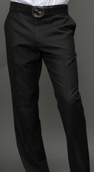 Black Modern Fit Flat Front Pants