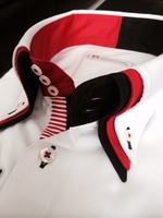 MorCouture White Red Black Trim High Triple Collar Shirt