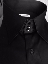 MorCouture Black 3 Button Collar Shirt