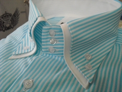 MorCouture Aqua White Stripe Double Collar Shirt -Custom Order